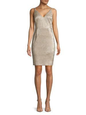 Metallic V-Neck Sheath Dress 500088295707
