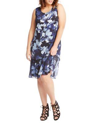 Plus Floral Ruffle-Hem Dress 500088299685