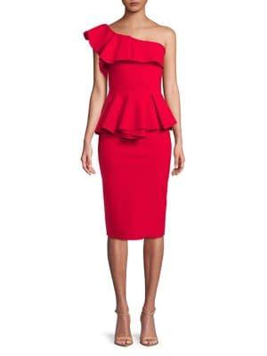 Ruffled Peplum Knee-Length Dress 500088331708
