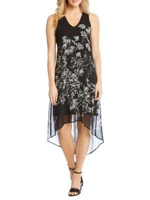 Sketched Floral Hi-Lo Hem Dress 500088349612