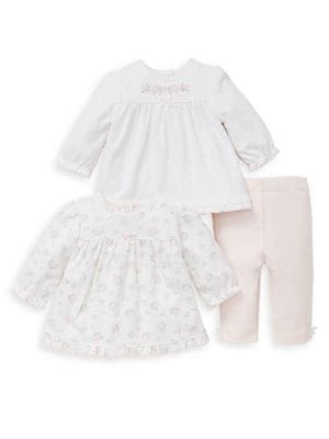 Baby Girls ThreePiece Dainty Cotton Tunic and Pants Set