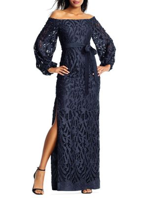 Lace Floor-Length Gown 500088357491