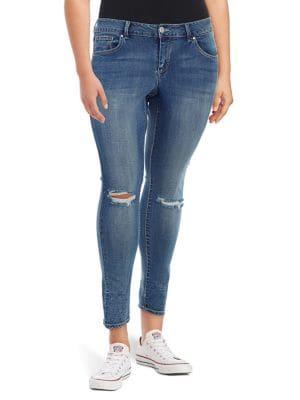 Plus Arrow Straight Distressed Jeans 500088357930