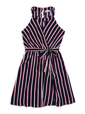 Girl's Striped Wrap Dress...