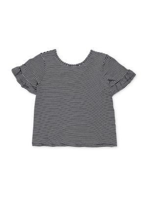 Girl's Striped Futter-Sleeve...