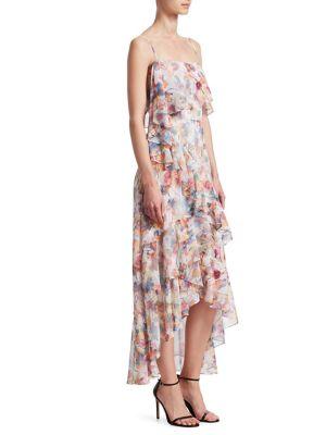 Ml Monique Lhuillier Dresses FLORAL CHIFFON HI-LO DRESS