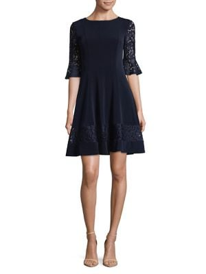 Lace-Trimmed Bell-Sleeve Dress 500088362970