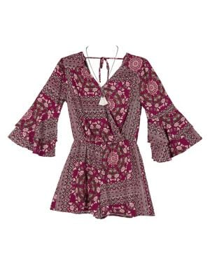 Girl's Printed Bell-Sleeve...
