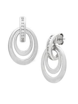 0.25 TCW Diamonds and Sterling Silver Drop Earrings
