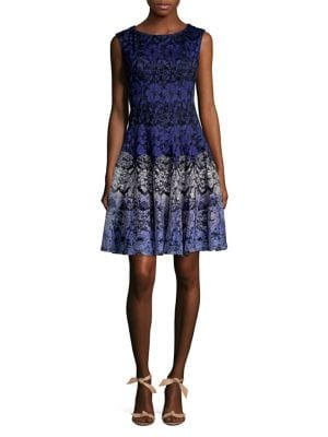 Plus Sleeveless Lace Fit-and-Flare Dress 500088380797