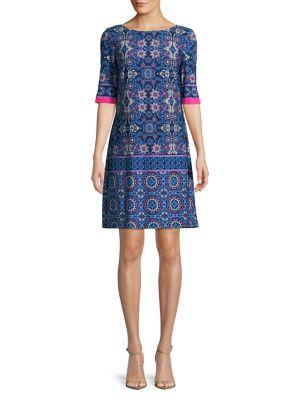 Printed Boatneck Shift Dress 500088389359