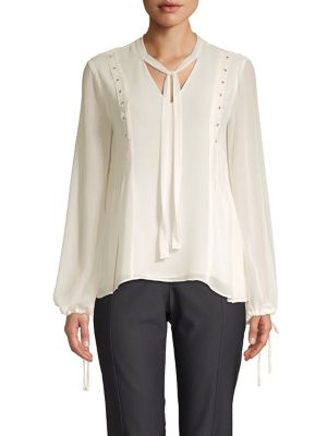 Ellen Tracy PETITE BEADED LONG SLEEVE BLOUSE