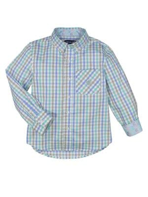 Image of Little Boys' Long Sleeve Checkered Shirt