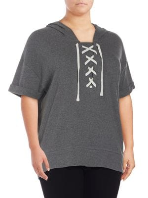 Plus Lace-Up Dolman Hoodie...