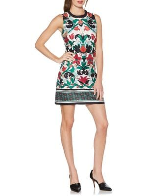 Bead-Embellished Printed Shift Dress 500088417476