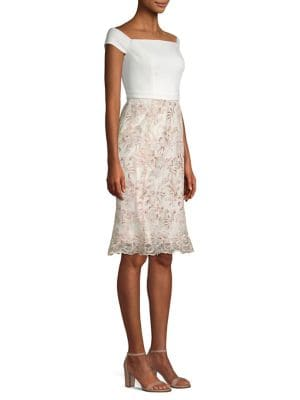 Laundry By Shelli Segal Dresses CREPE EMBROIDERED CORDED MESH FLOUNCE DRESS
