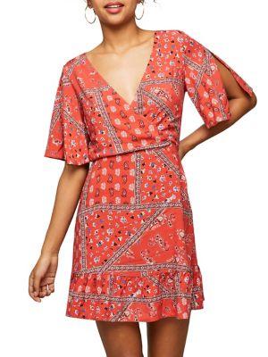 Scarf Angel-Sleeve Mini Dress 500088422094