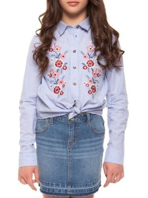 Girl's Embroidered Striped...