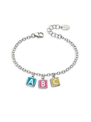 .925 Sterling Silver ABC Charm Bracelet