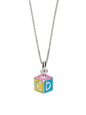 Image of Sterling Silver ABC Cube Pendant Necklace