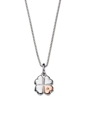 Image of Sterling Silver & Diamond Clover Pendant Necklace