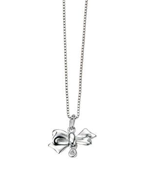 Image of Sterling Silver & Diamond Bow Pendant Necklace