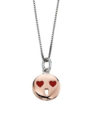 Image of Sterling Silver Heart Eyes Pendant Necklace