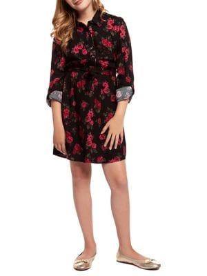 Girl's Rose-Print Shirt...