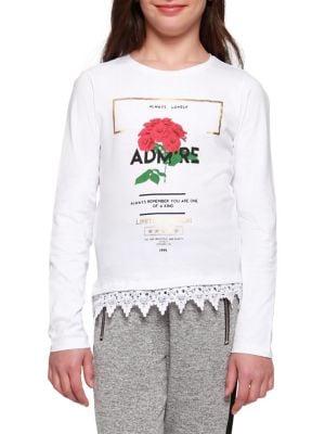 Girl's Rose-Graphic Crochet-Hem...