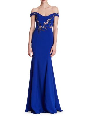 Marchesa Notte Gowns EMBROIDERED BEADED APPLIQUE OFF-THE-SHOULDER GOWN