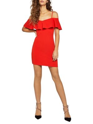 Cold-Shoulder Overlay Mini Dress 500088434244