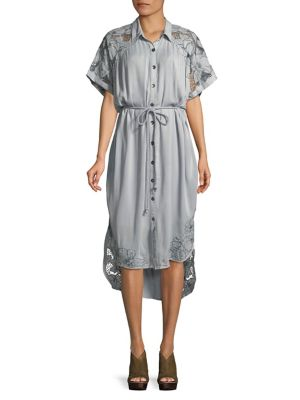 Floral Lace Hi-Lo Shirtdress 500088445038