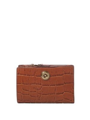 Compact Leather Crocodile-Embossed Wallet 500088447888