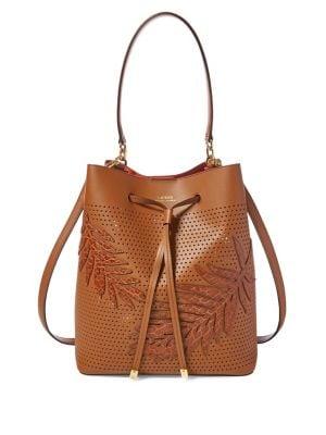 Leaf Debby Medium Leather Drawstring Bag 500088448183