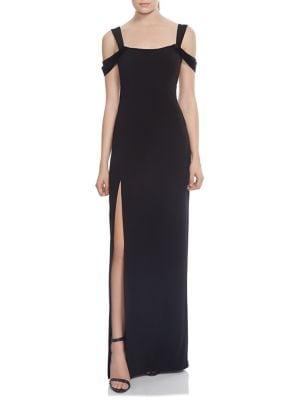 Cold-Shoulder Slit Gown 500088450988