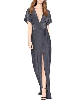Metallic V-Neck Gown 500088451005
