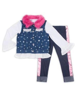 Little Girls ThreePiece Faux FurTrimmed Denim Vest Ruffled Top and Denim Leggings Set