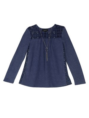 Girl's Lace Long-Sleeve...