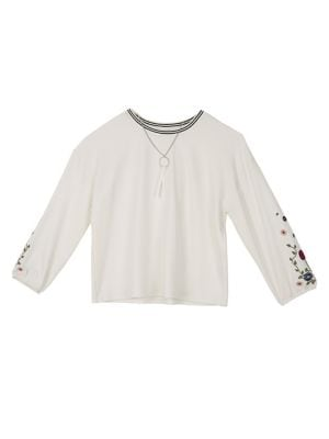 Girl's Embroidered Long-Sleeve...