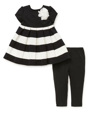 Baby Girl's Two-Piece Pleated Contrast Dress & Leggings Set 500088464620