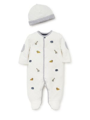 Baby Boys TwoPiece Jungle Fun Footie and Hat Set