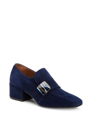 Loreen Suede Heeled Loafers...