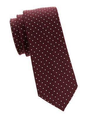 Dotted Silk Slim Tie...