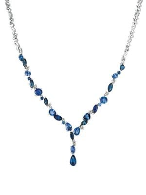 Image of Blueberry and Cornflower Ceylon Sapphire 14K White Gold Necklace