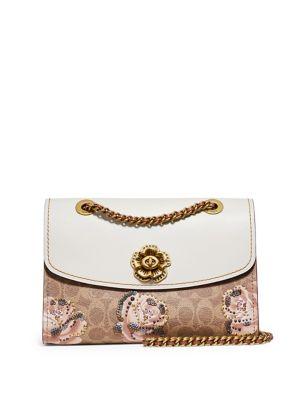 Parker Embellished Signature Rose Print Shoulder Bag 500088482698