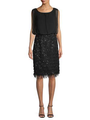 Sequined Sleeveless Blouson Dress 500088495426