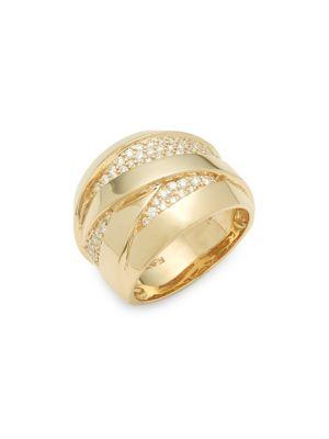 0.52 TCW Diamond and 14K Yellow Gold Ring