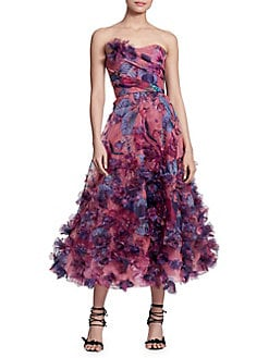 Berry Embellished Strapless Midi Gown