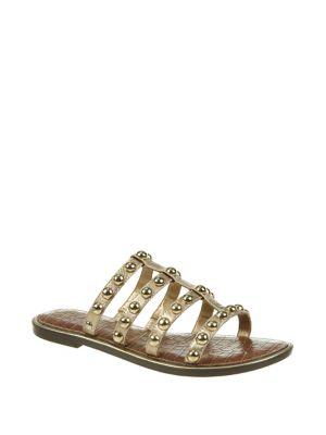 Glen Studded Metallic Leather Slides 500088501476