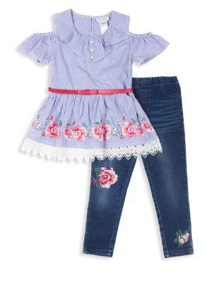 Little Girls TwoPiece ColdShoulder Cotton Top and Denim Leggings Set